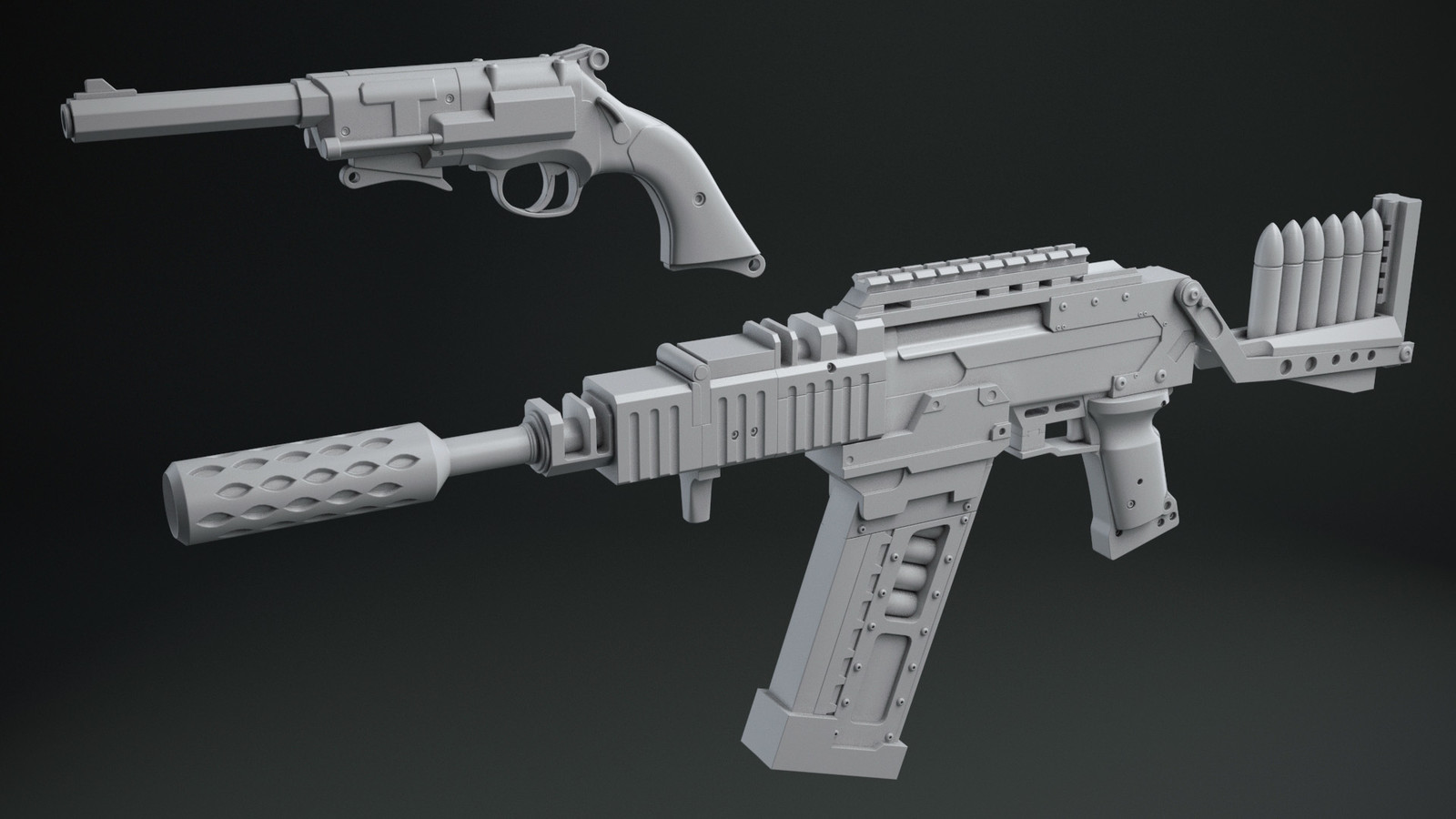 Just a gray render of the 3D models. Since it's for 3D printing I didn't texture them.