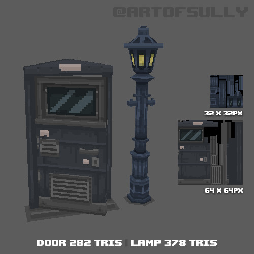 3D Pixel-Art Door and Streetlamp (Commission)