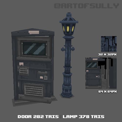 3D Pixel-Art Door and Streetlamp (Commission)