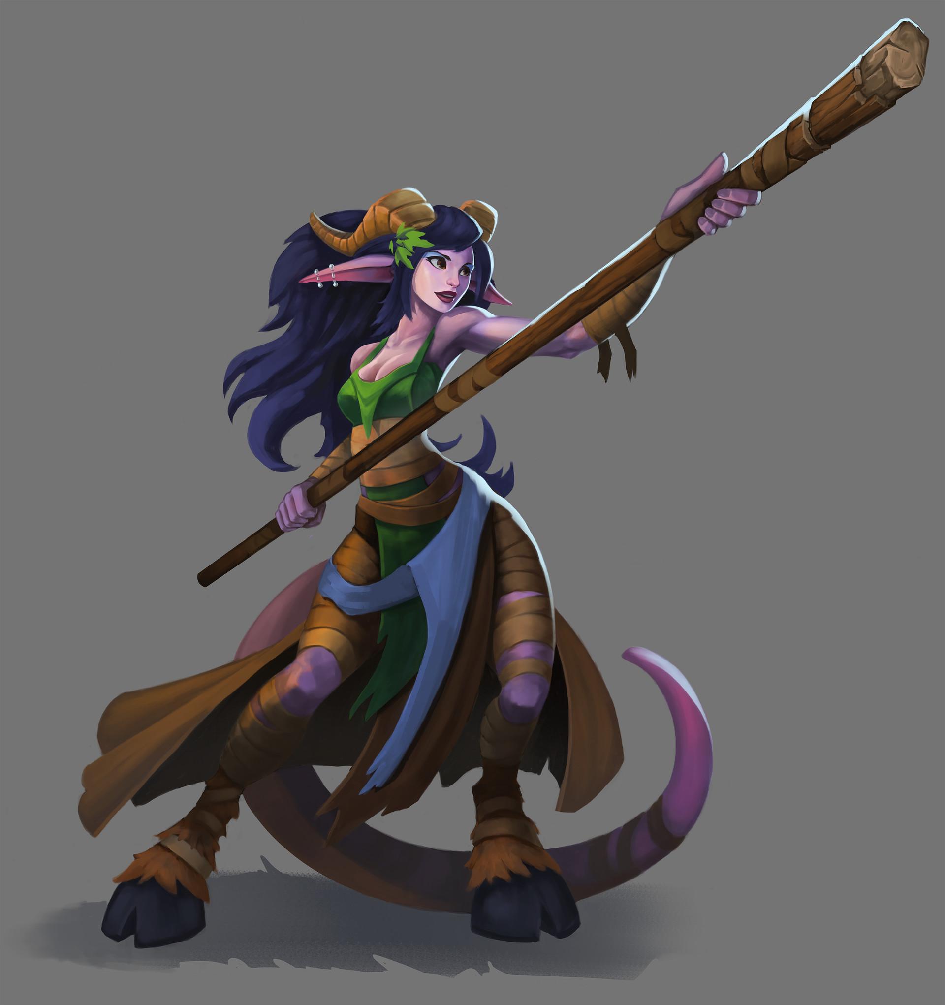 Fantasy fighter girl w/ staff