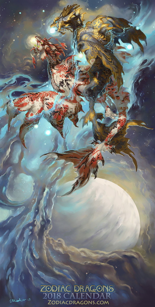 ArtStation - 2018 The Water Fish Zodiac Dragons Pisces