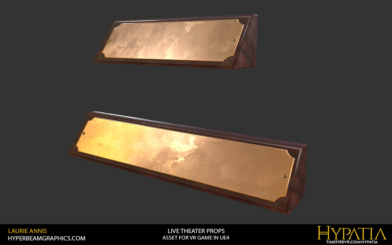 Low poly game assets: Hypatia Live Theater Props, placard detail.