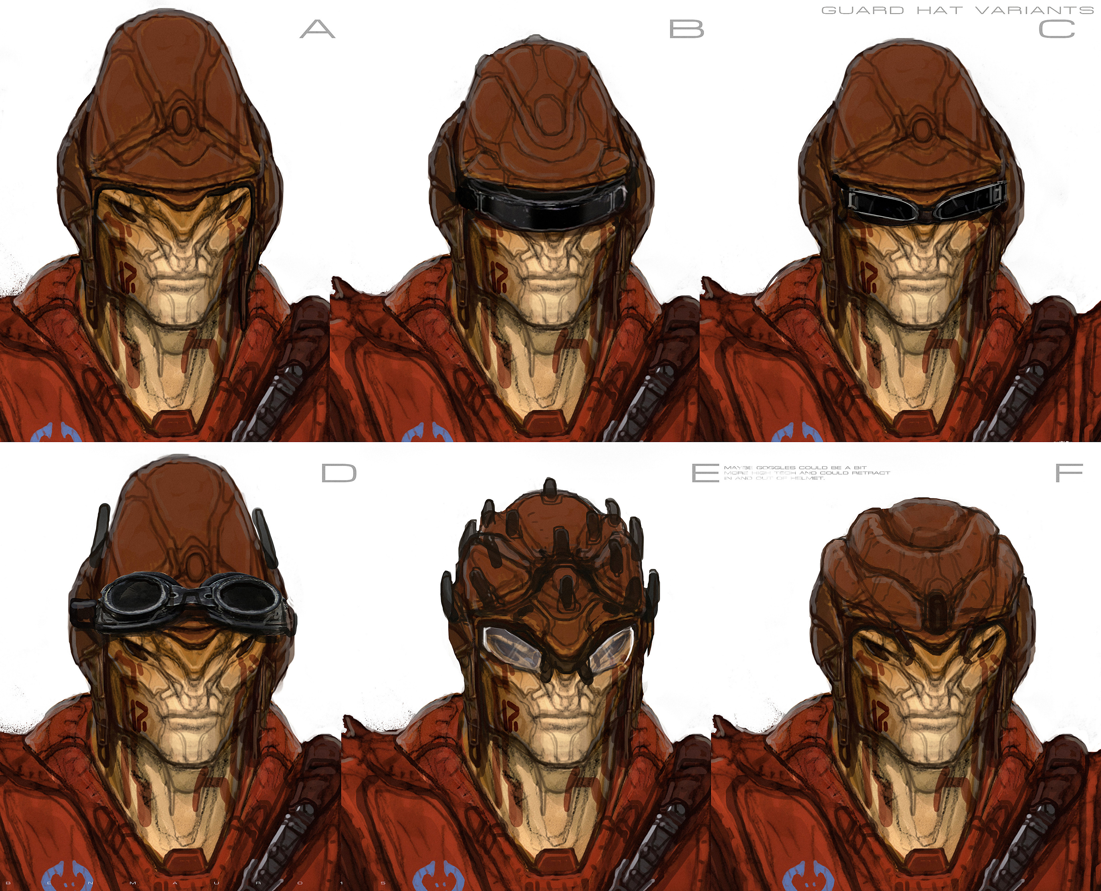 Luc wanted some ideas for hats/goggles. These were done over the early face sketches i did for these characters. They were altered later and adapted to feel more similar in lineage to where Igon Siruss went, less horns/plating like a lizard.