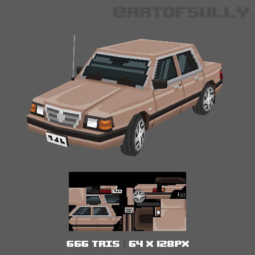 3D Pixel-Art Dodge Aries (Commission)