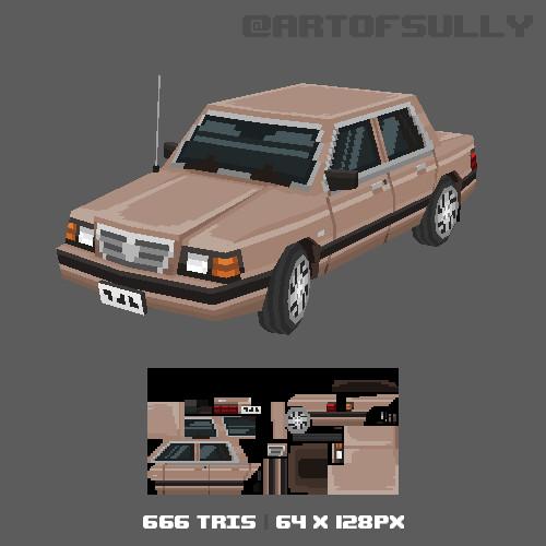 3D Pixel-Art Dodge Aries (Commission)