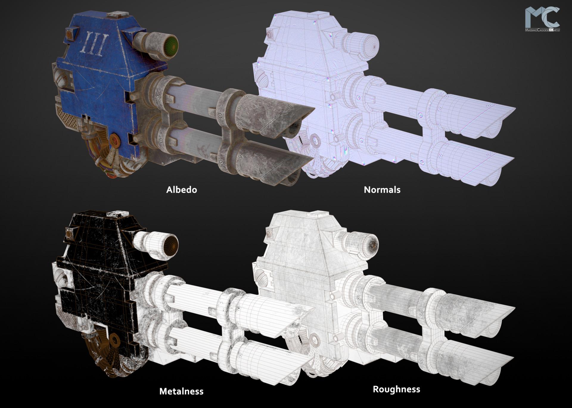 Maps displayed: Albedo, Normals, Metalness, Roughness.