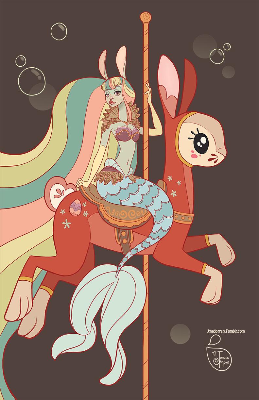Jessica madorran character design bunny mermaid 2016 artstation