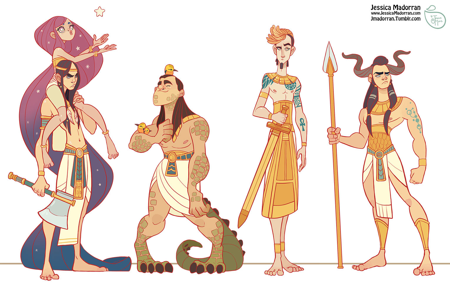Character Design Artist Interviews : Jessica madorran egypt characters study