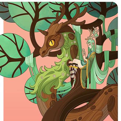 Jessica madorran character design zodiac wood dragon treelady2017 artstation02