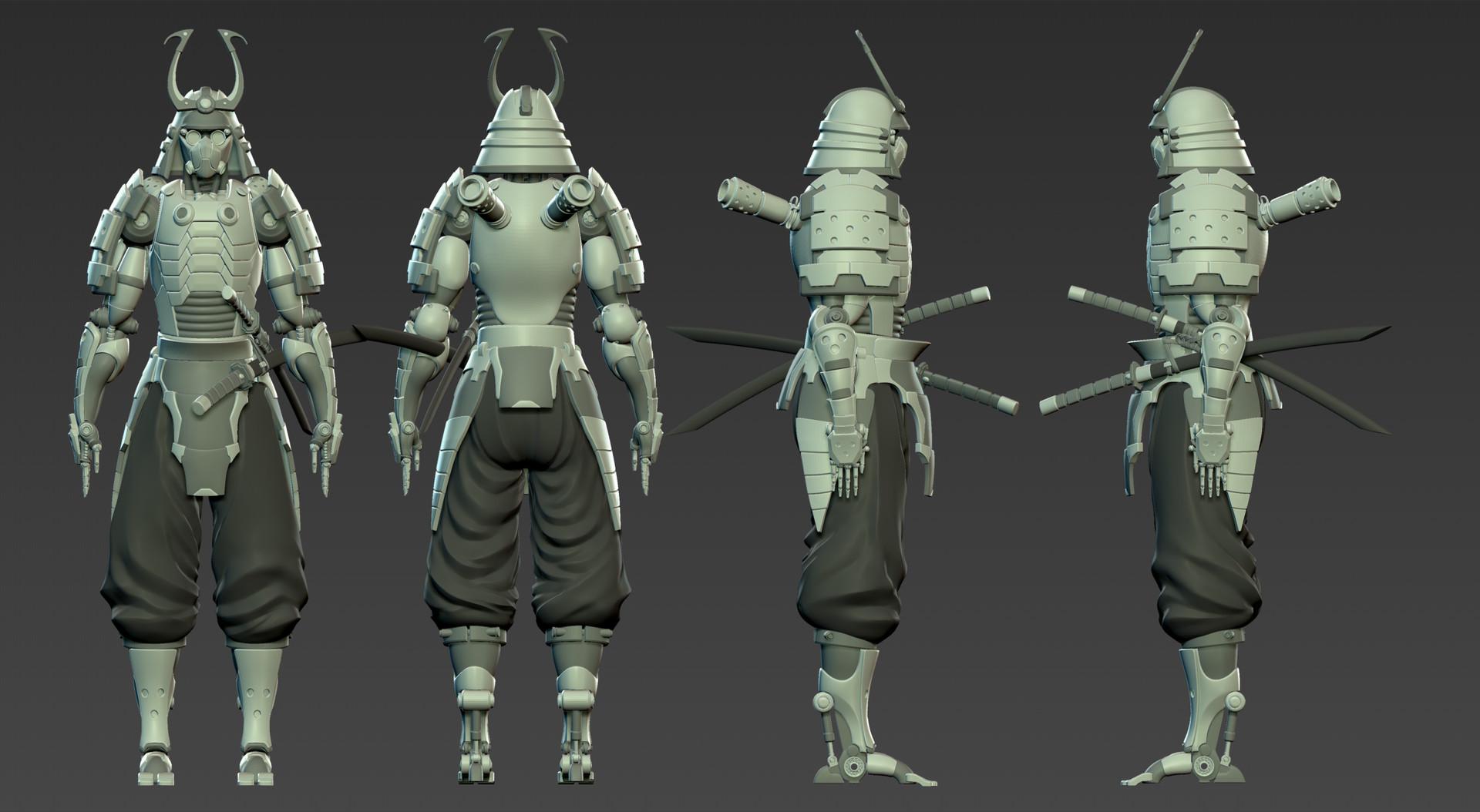 artstation cyborg samurai nick real