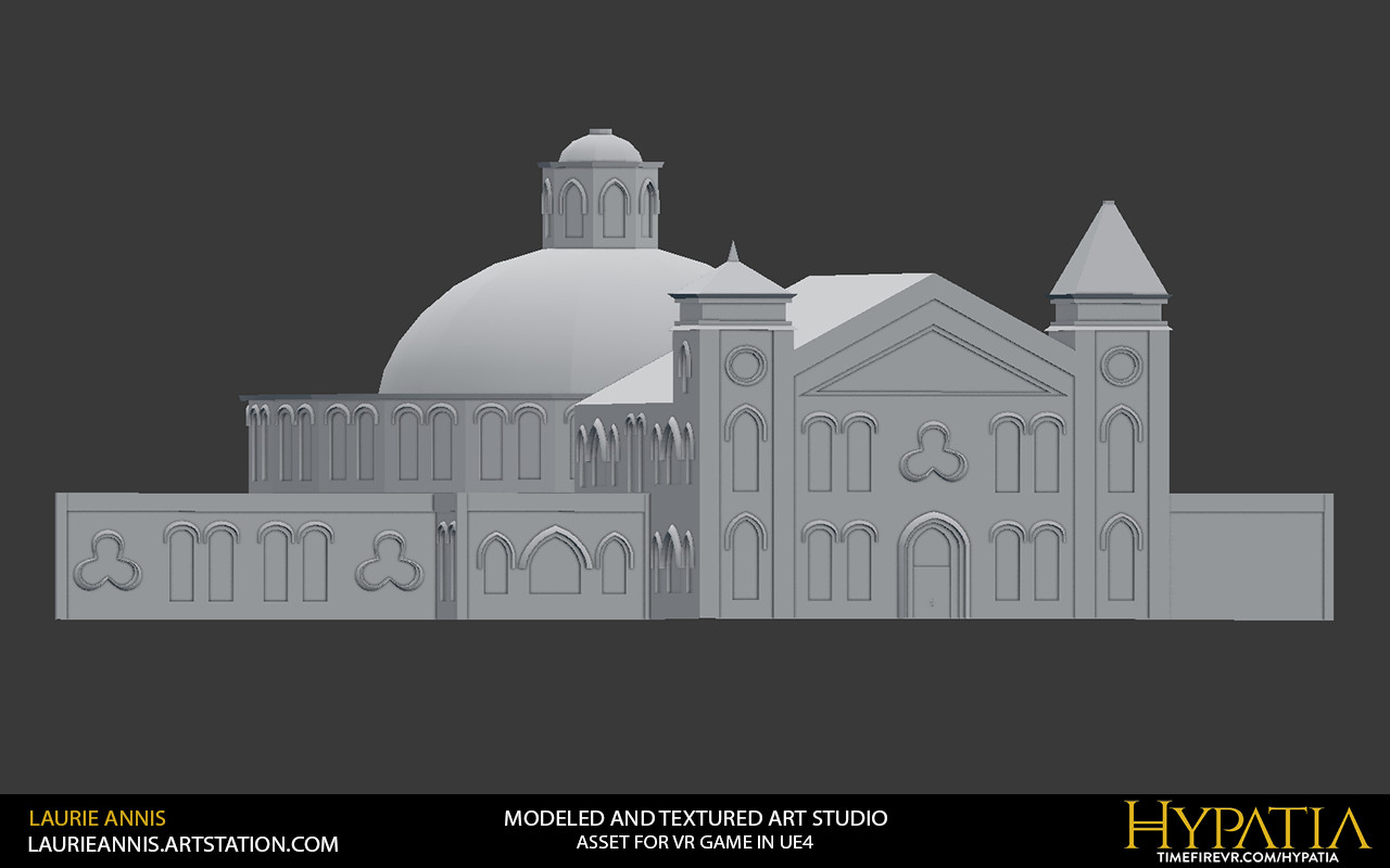 Low poly modular game asset: Hypatia Art Studio Exterior