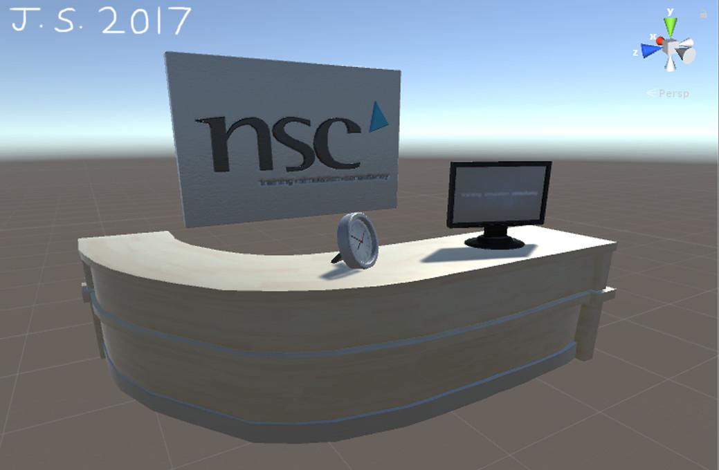 Desk, Clock, Computer Screen, NSC Sign