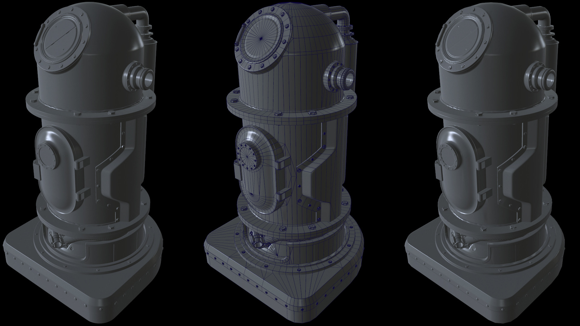 High Poly / Wireframe / Low Poly with Normal