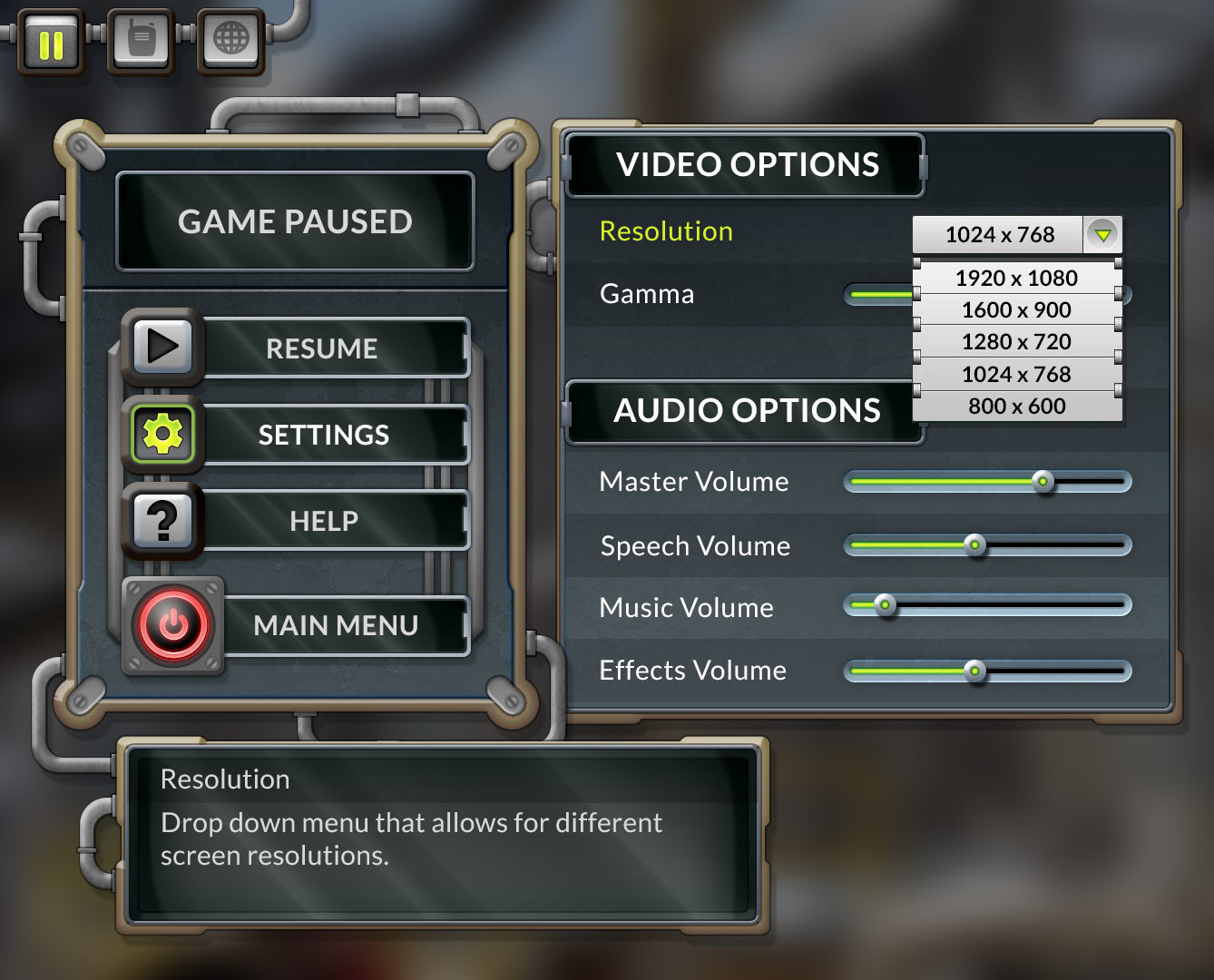 Main menu elements