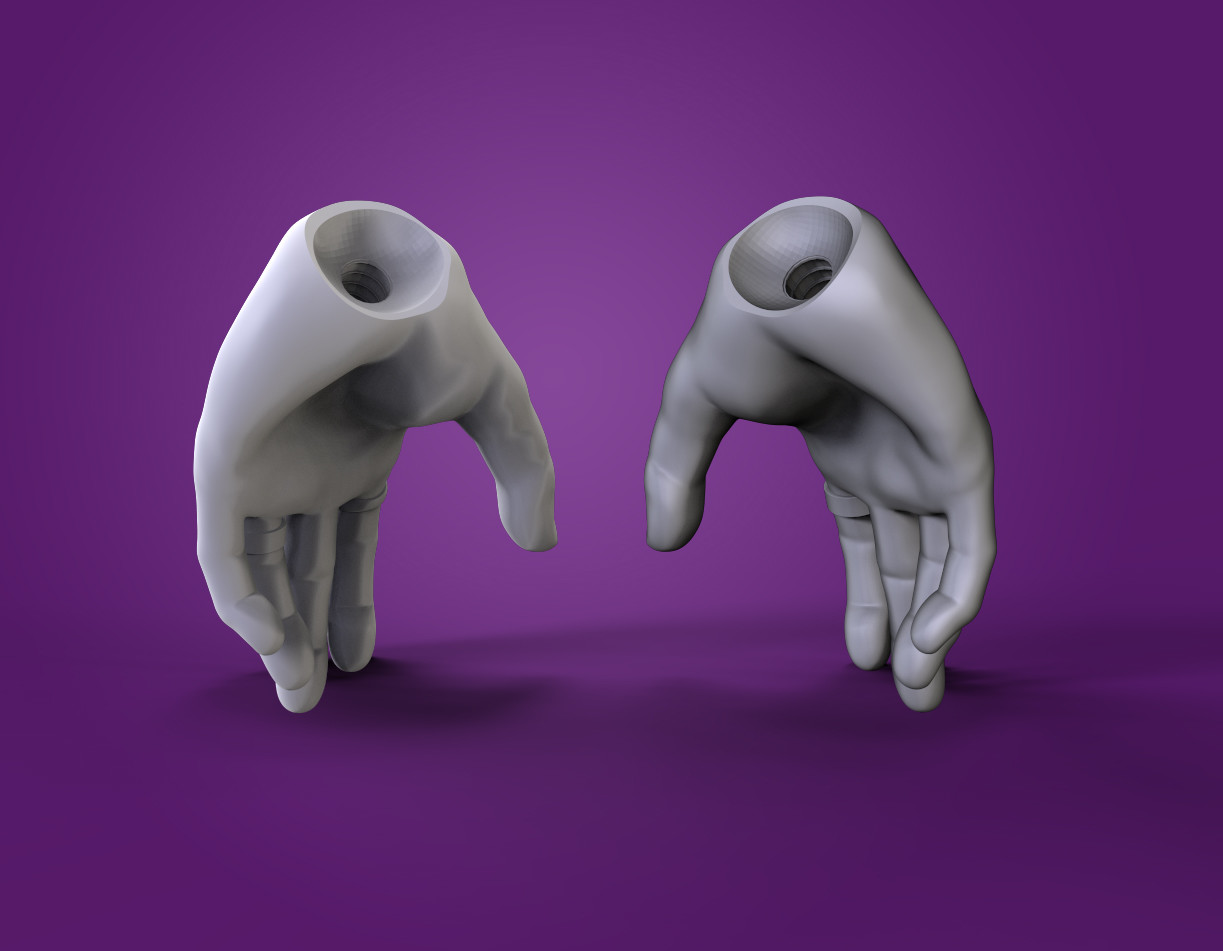 The hands with joint holes