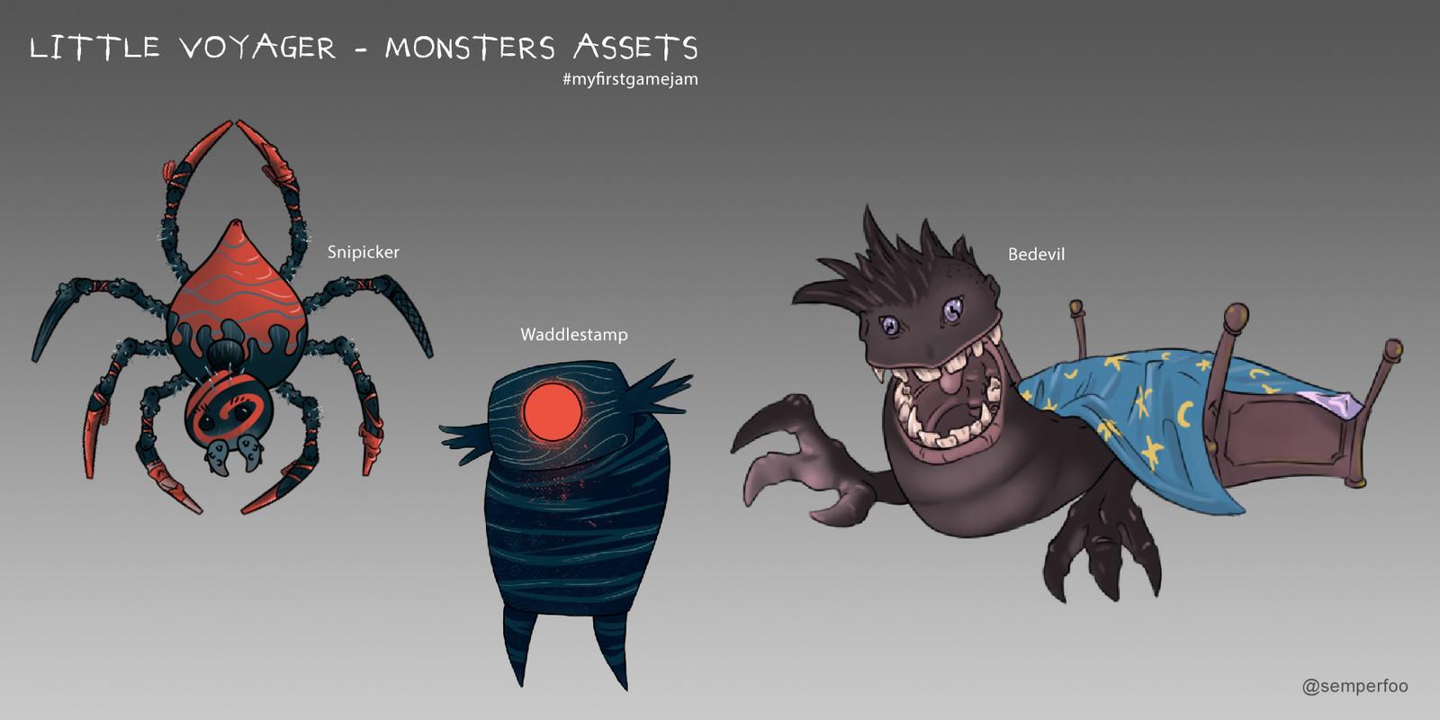 Finalized monster assets.