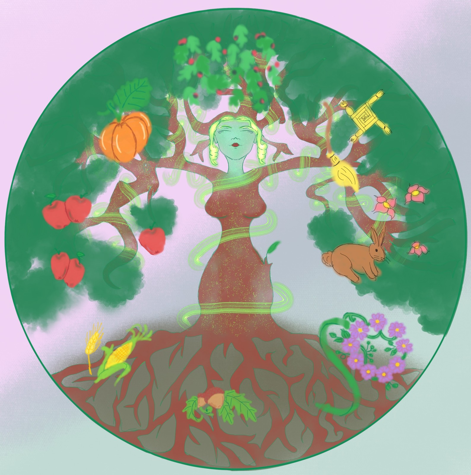 This is of the goddess of Wicca, in the shape of a Tree of Life and the Wheel of the Year around her.