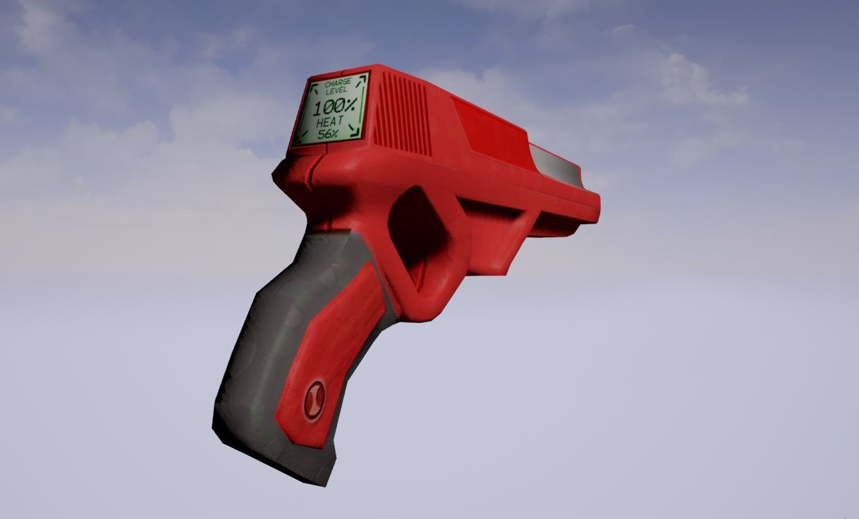 Old Model blaster with 1K texture made in Photoshop Unreal Engine render [In-engine] because this version of the blaster was meant to look like a toy gun the screen on the back is modeled after a digital calculator or gameboy