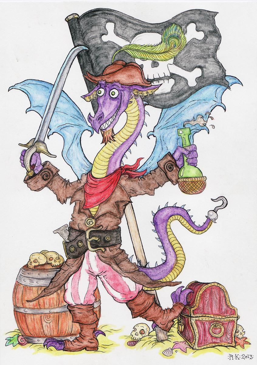The dragon pirate! (aquarelle crayons, ballpoint pen)
