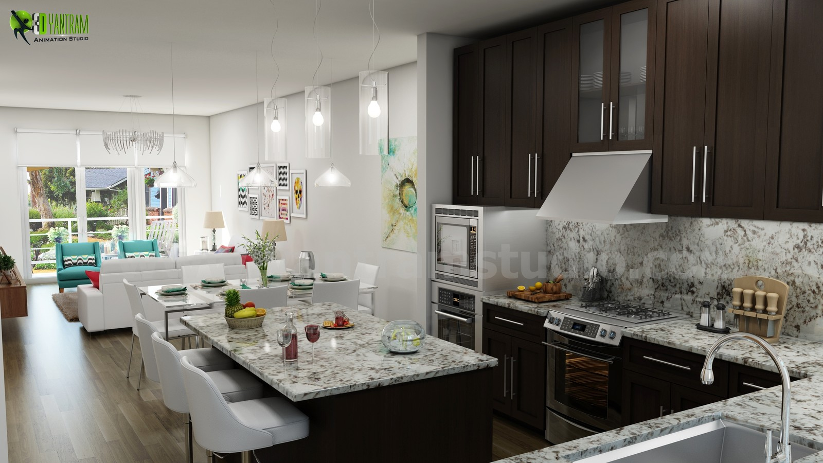 Unique Kitchen Living Render From