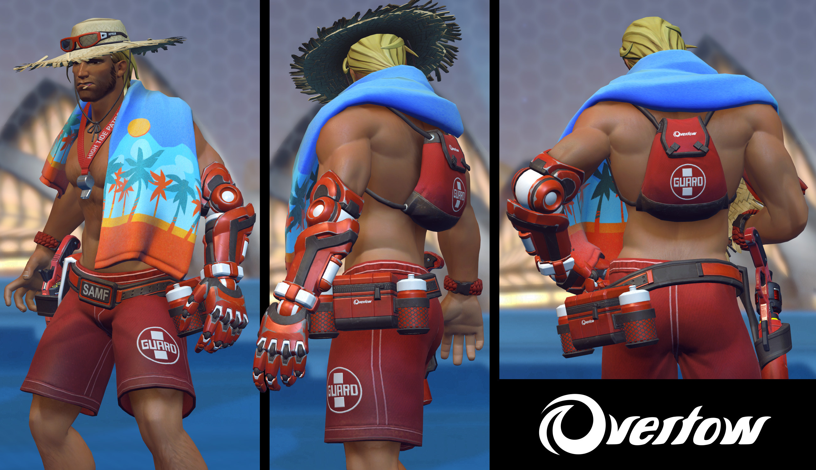 Lifeguard McCree for the Overwatch 2017 Summer Event. I also designed and created the Overtow logo for the gear.