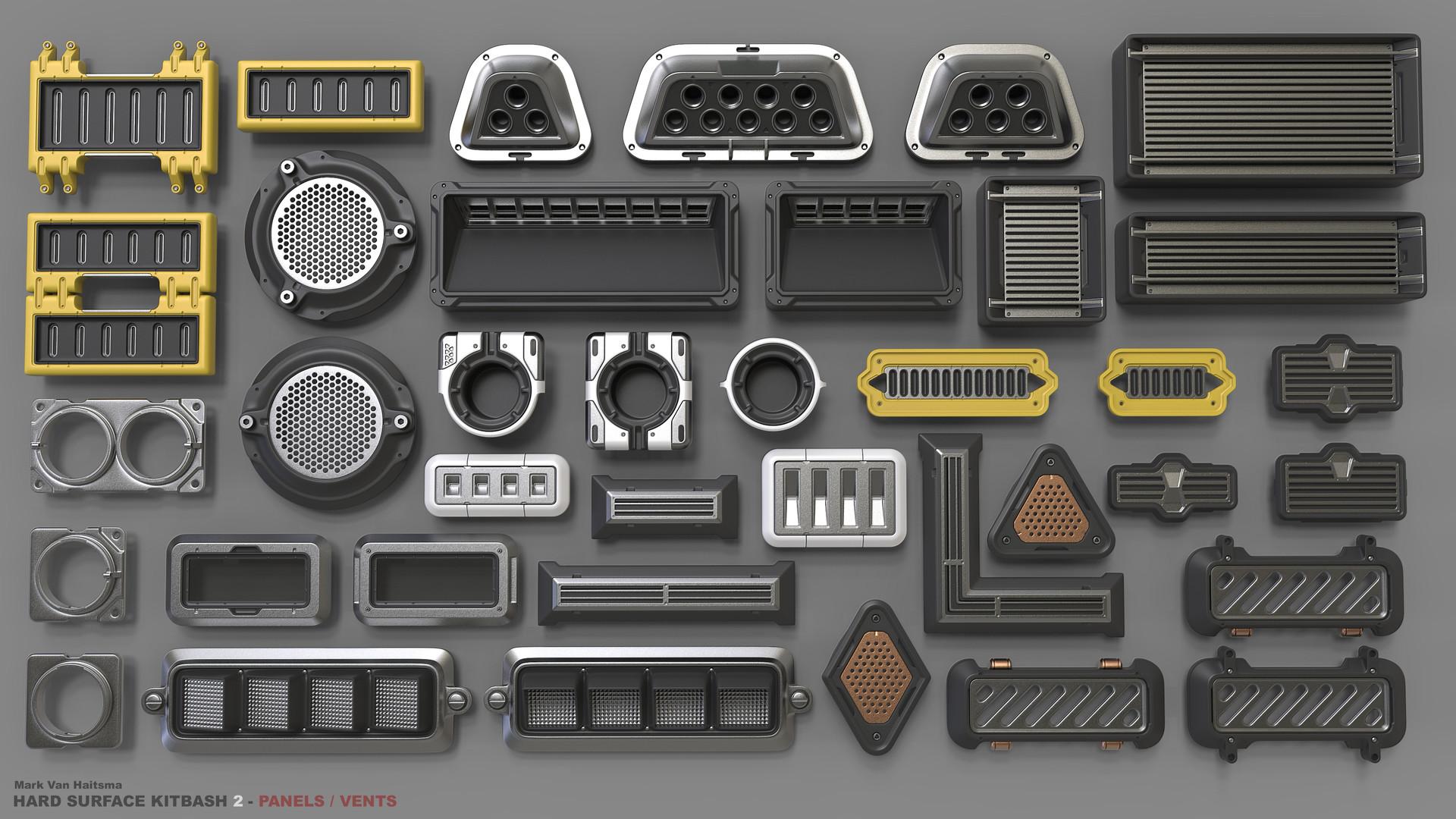 ArtStation - Hard Surface Kitbash Library 2 - Panels/Vents/Hinges