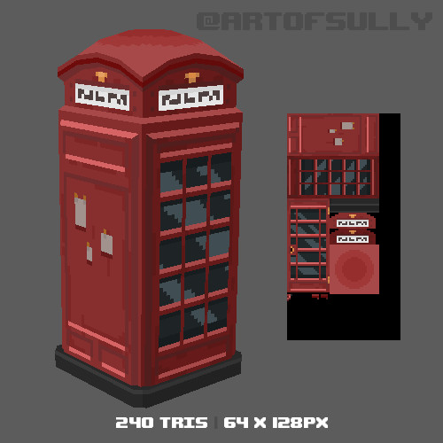 3D Pixel-Art Telephone Box (Commission)