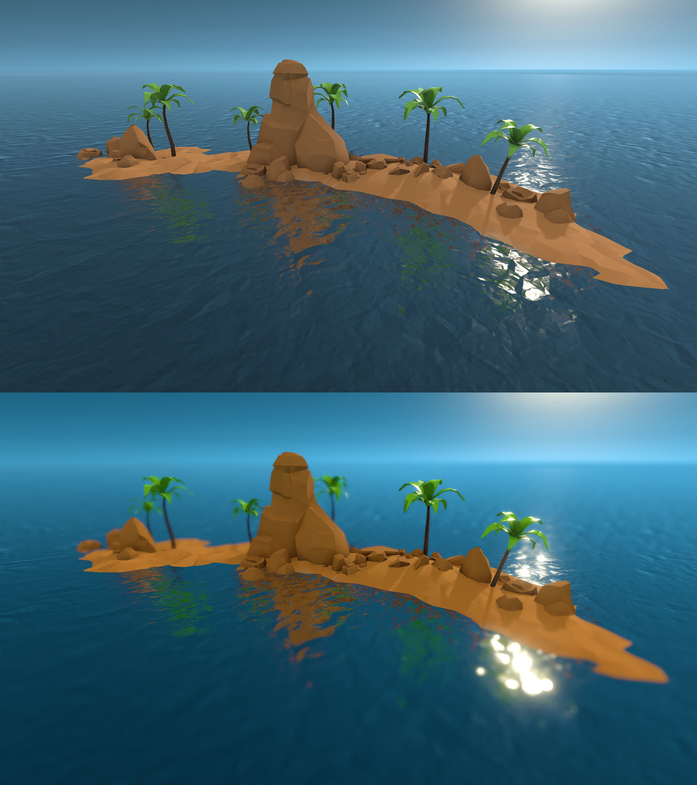 Tiny Island before and after
