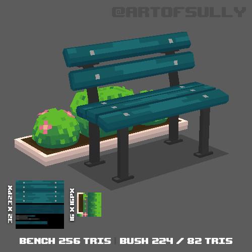 3D Pixel-Art Park Bench (Commission)