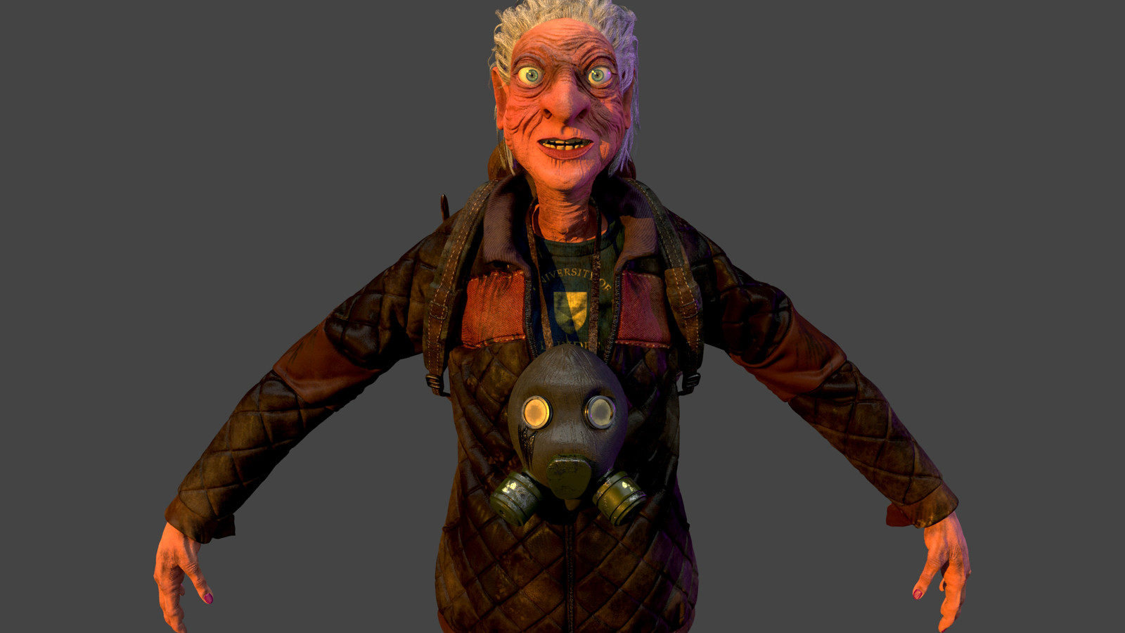 The lady has 47 4k resolution texture maps, I used displacement maps for her skin and leather materials.