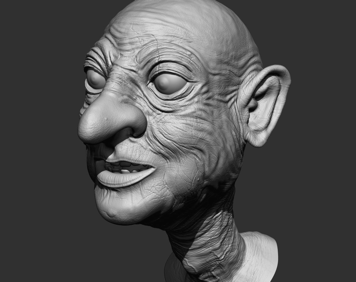 Retopologized model has been transferred to Zbrush where details for normal map projection were added