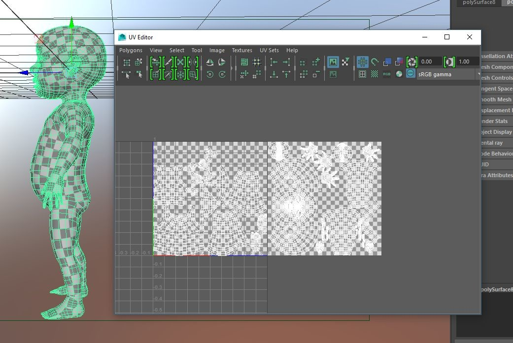 It took a day to sculpt the character, Here's some sneak peek of UV mapping.