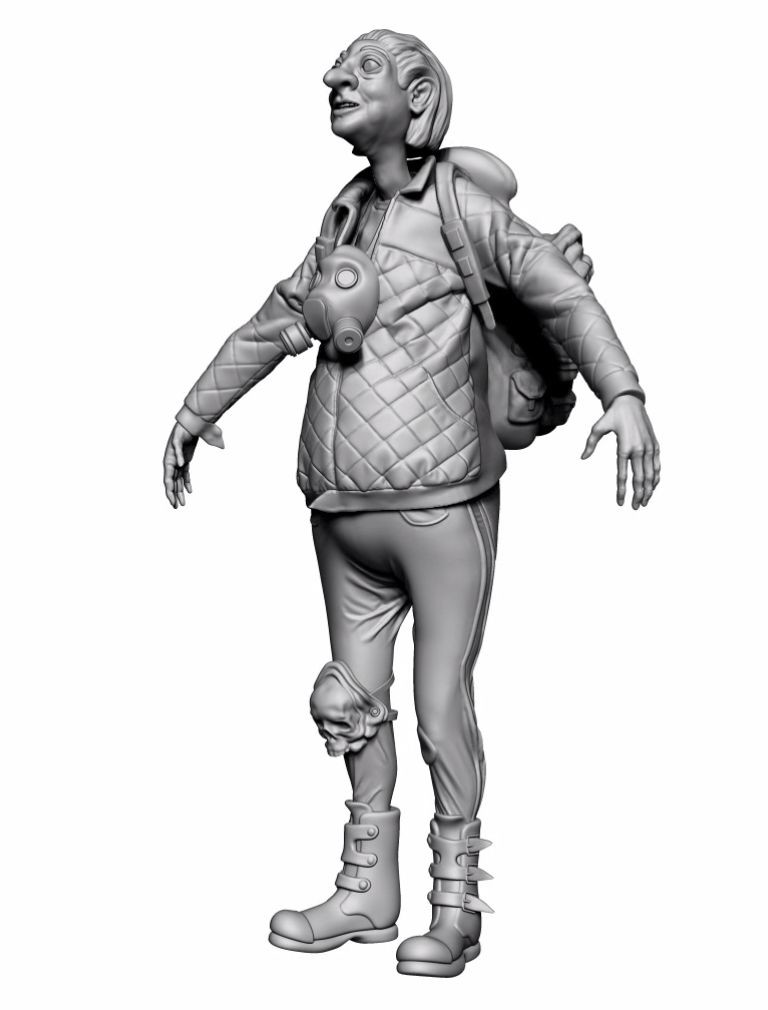 Granny with assets, some were made in Maya, some were first simulated in Marvelous Designer - like this quivered leather jacket and sweatpants.