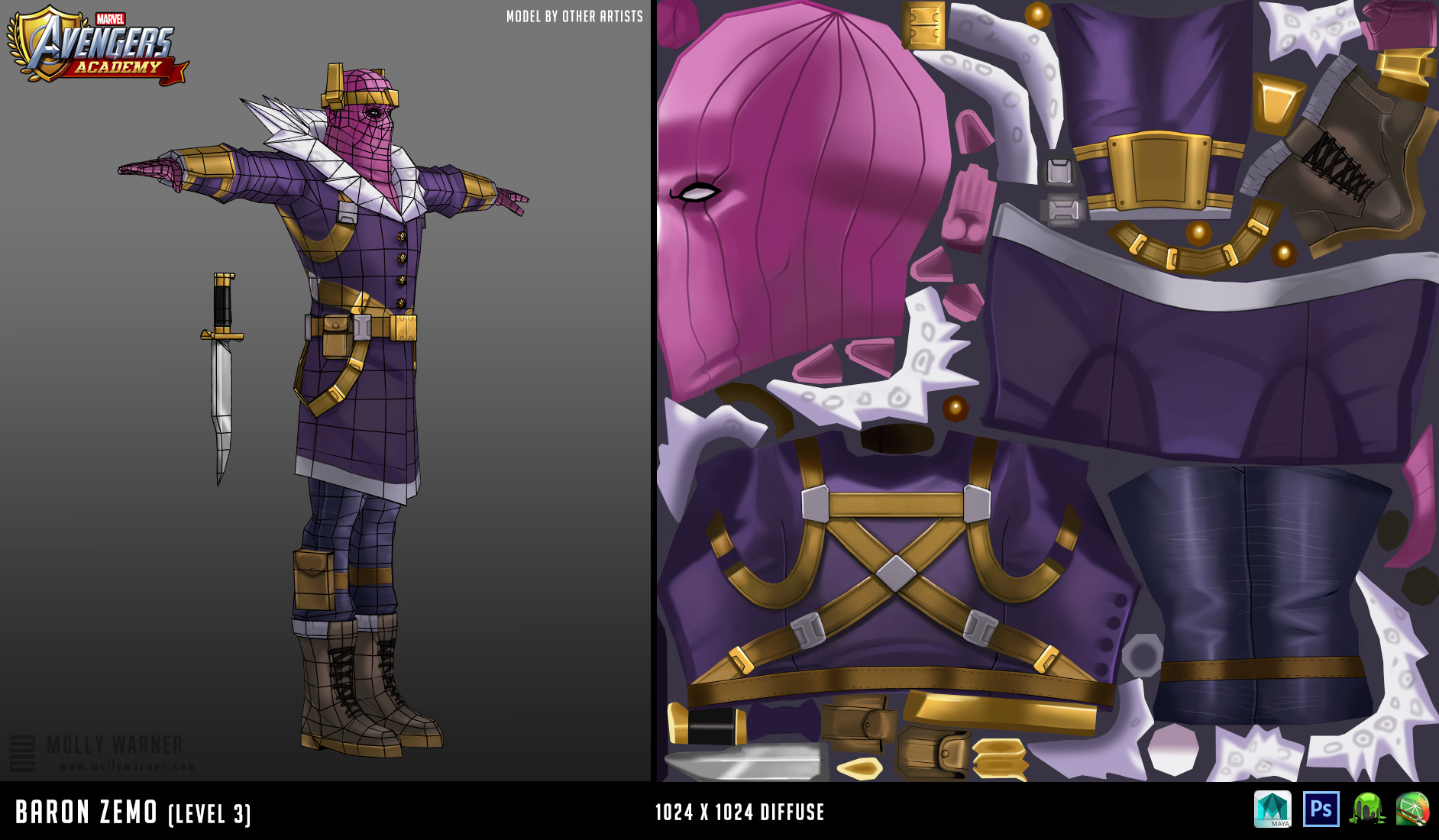Molly warner 12 baron zemo l3 textures wireframe