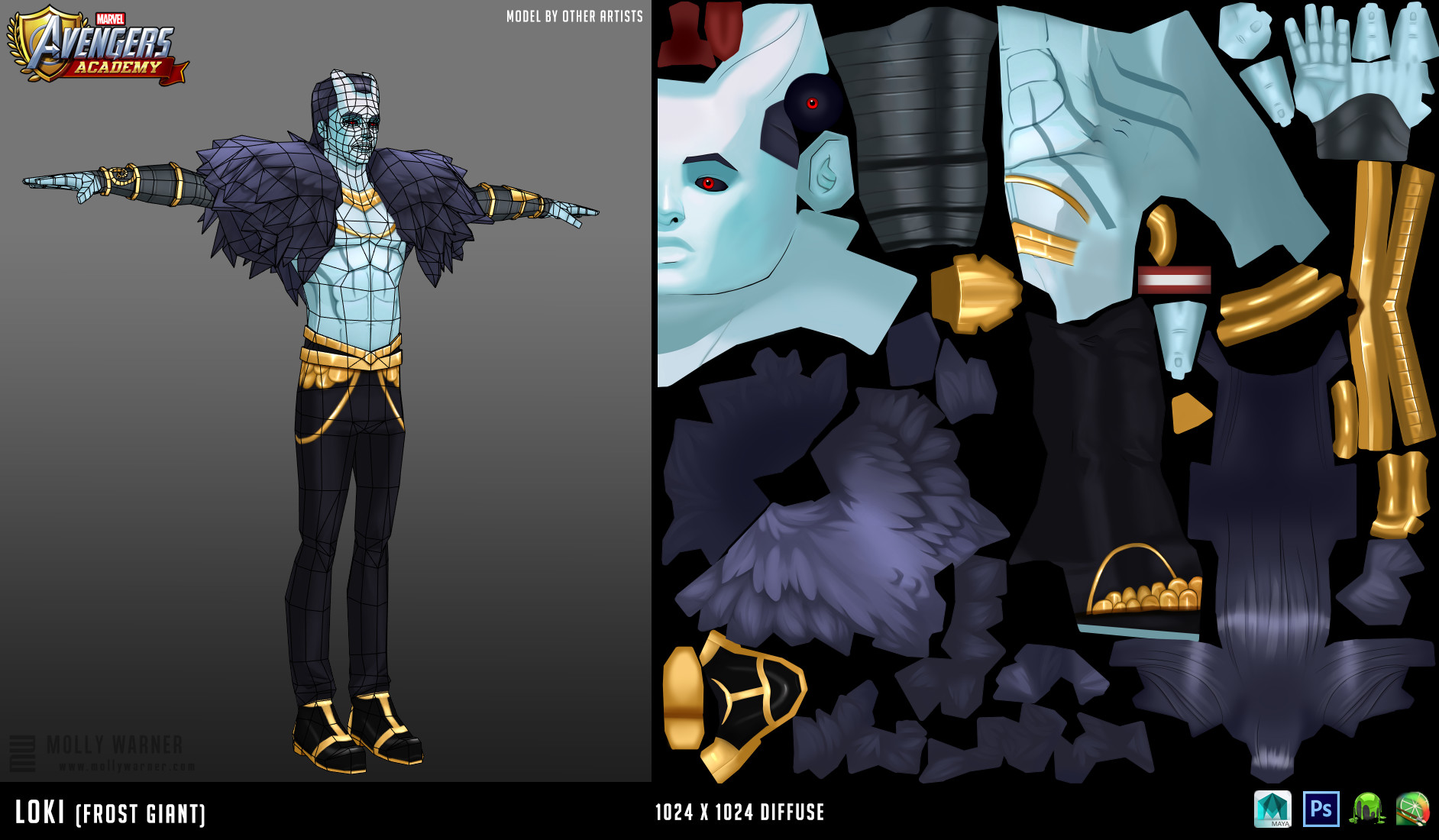 Molly warner 3 loki frost giant textures wireframe
