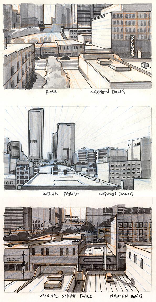 Downtown Los Angeles field sketch