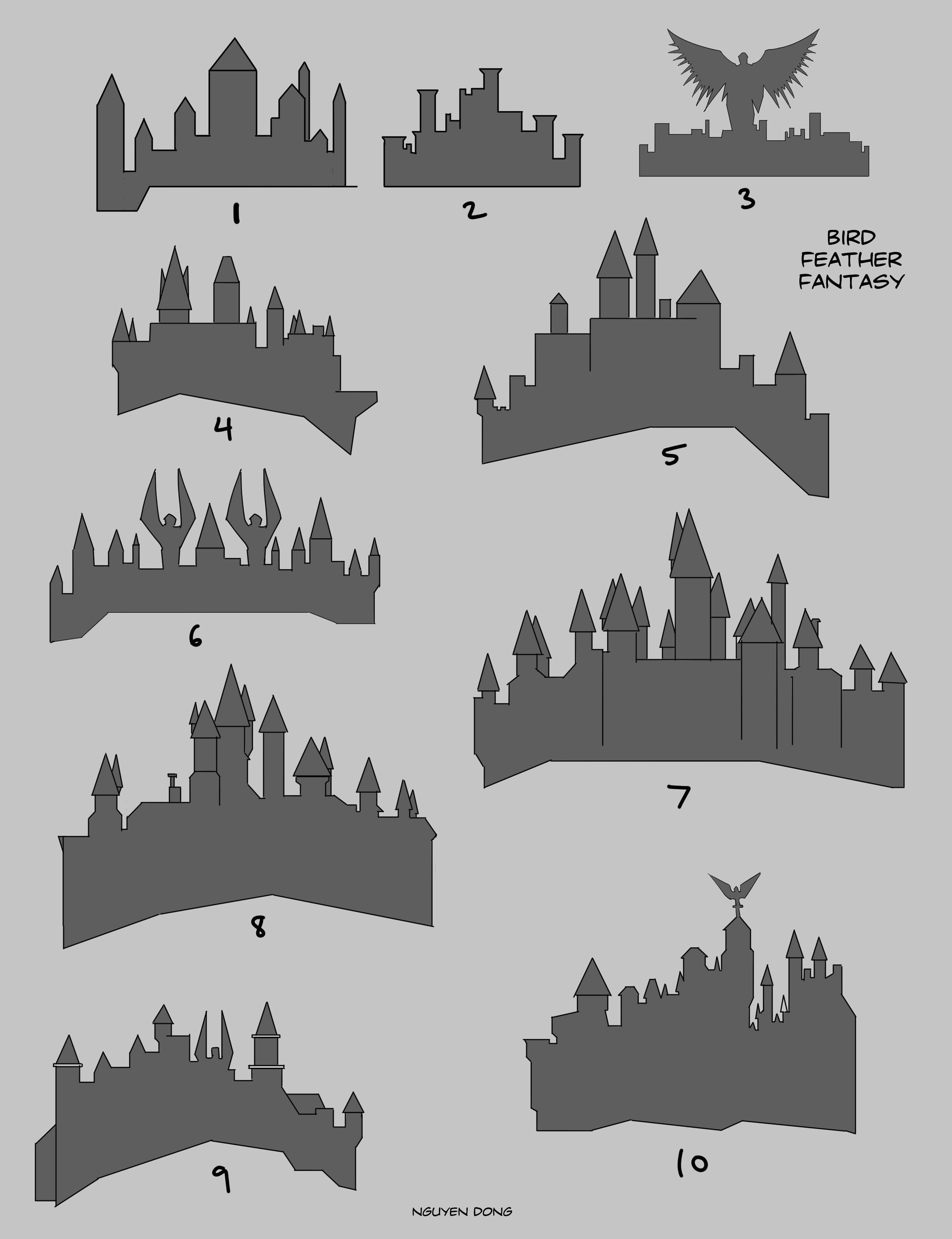 castle silhouette ideation