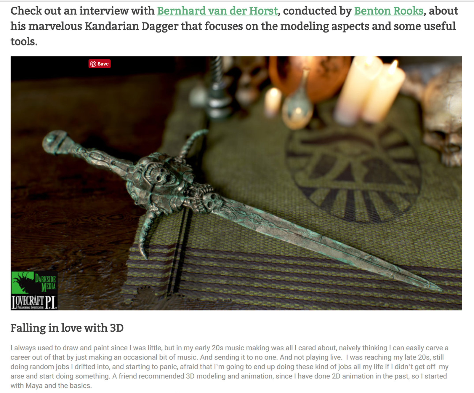An interview with 80 level detailing the making of the dagger https://80.lv/articles/modeling-an-ancient-dagger-in-3d/