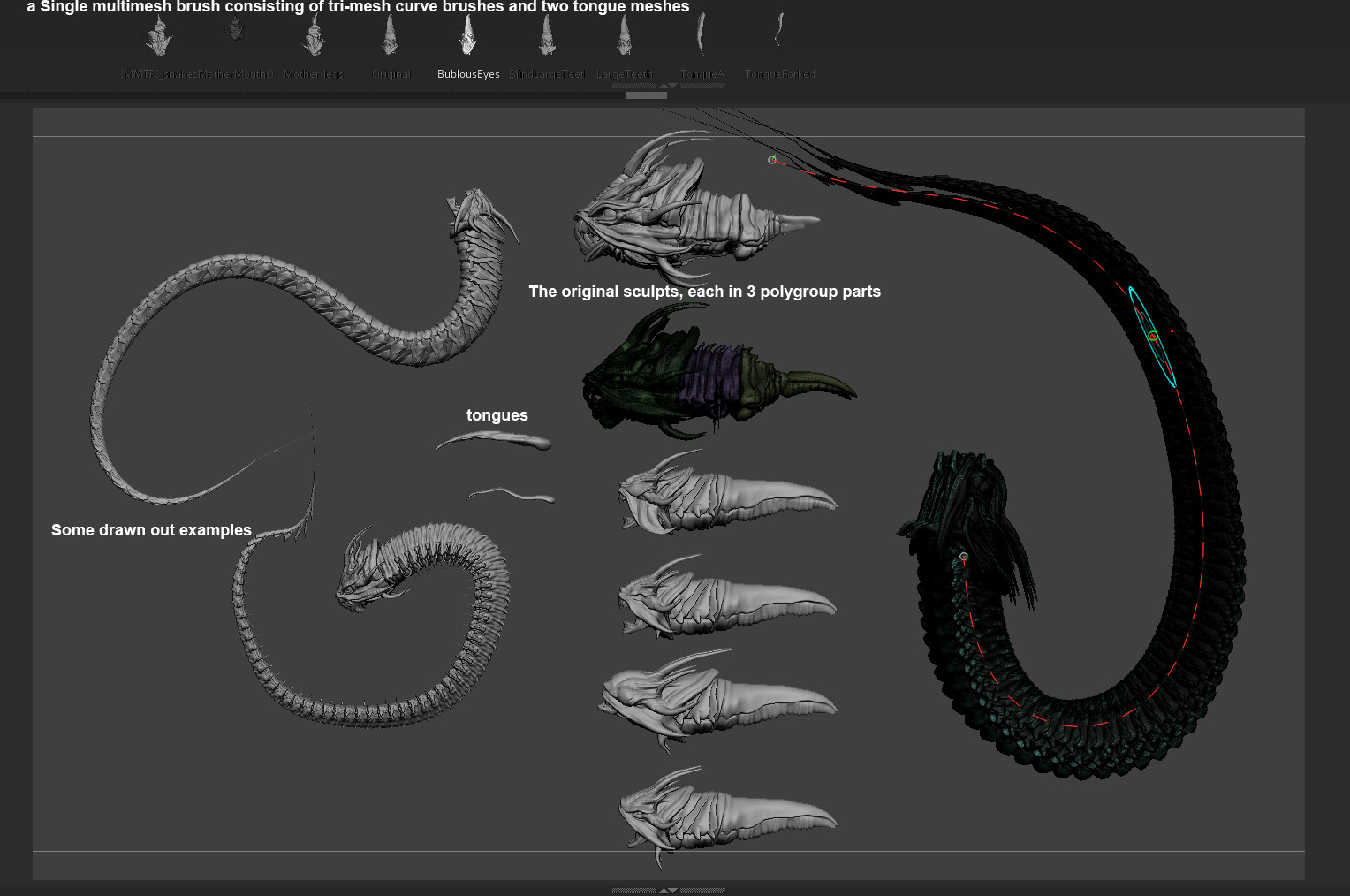 Some of the tools used in Zbrush.