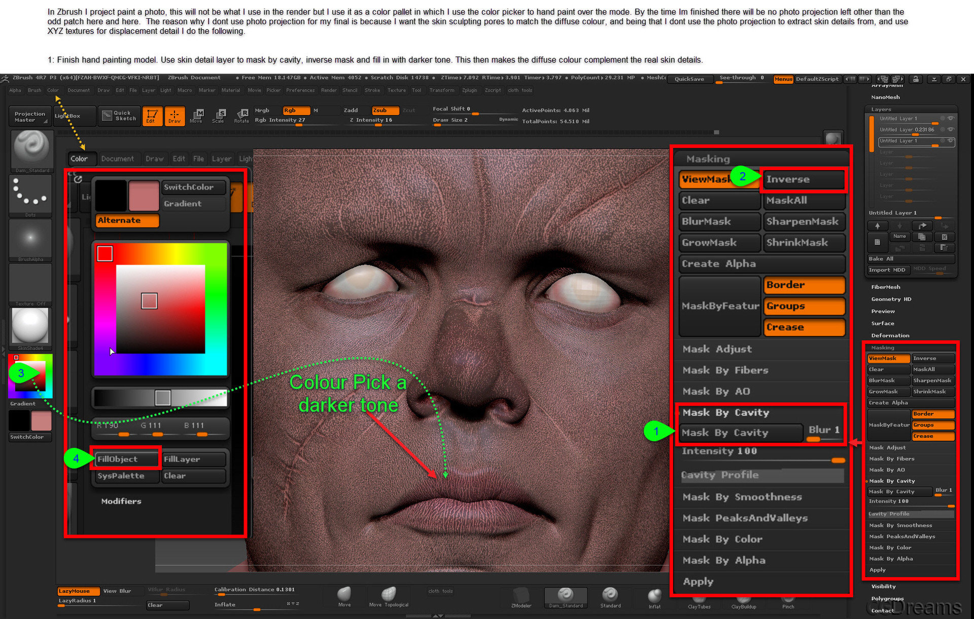 Using Skin Pores For Diffuse Map