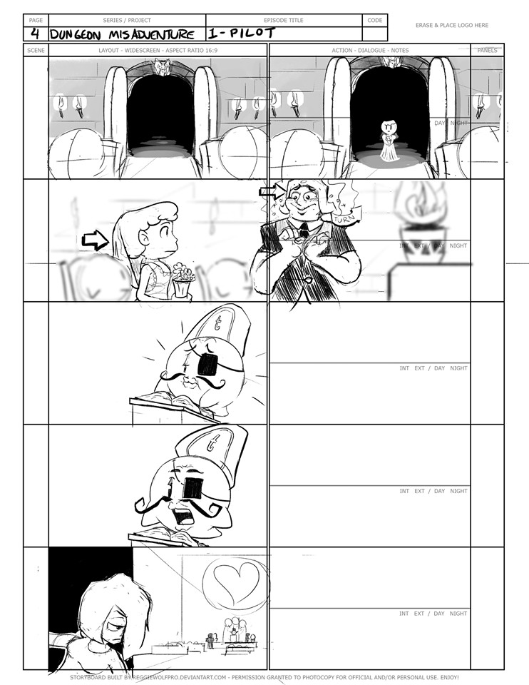 """(1) A selection from the """"Dungeon Misadventures"""" storyboards."""