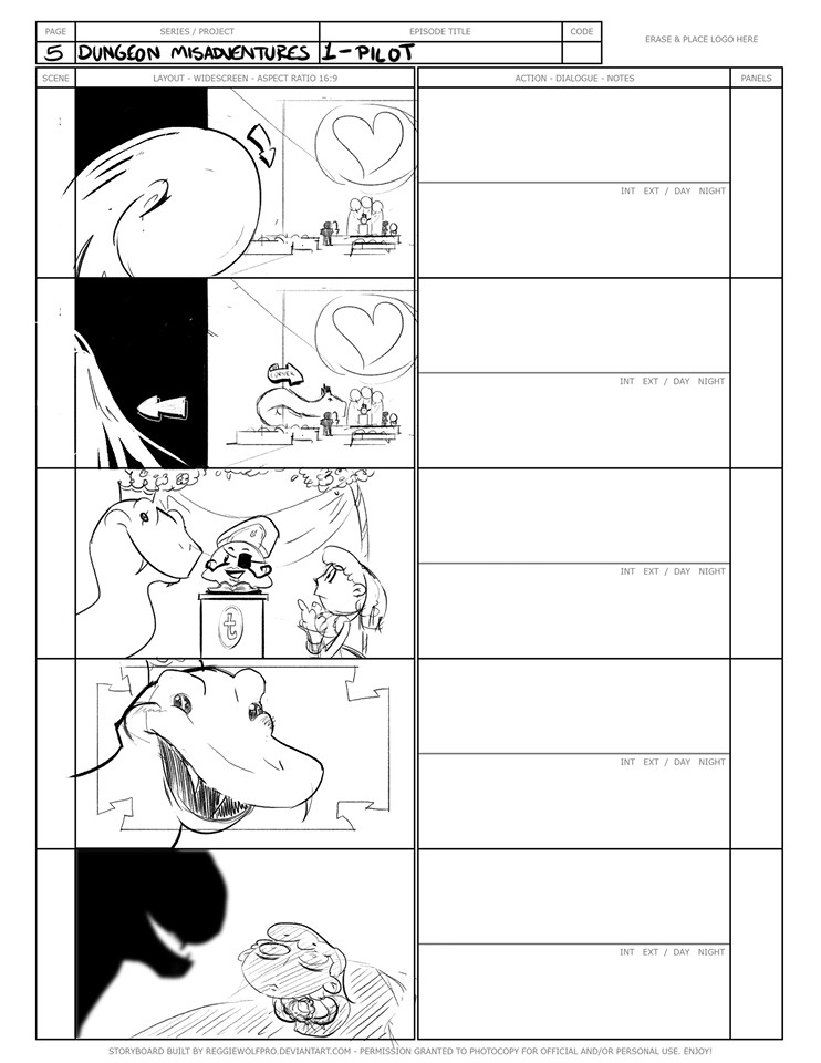 """(2) A selection from the """"Dungeon Misadventures"""" storyboards."""