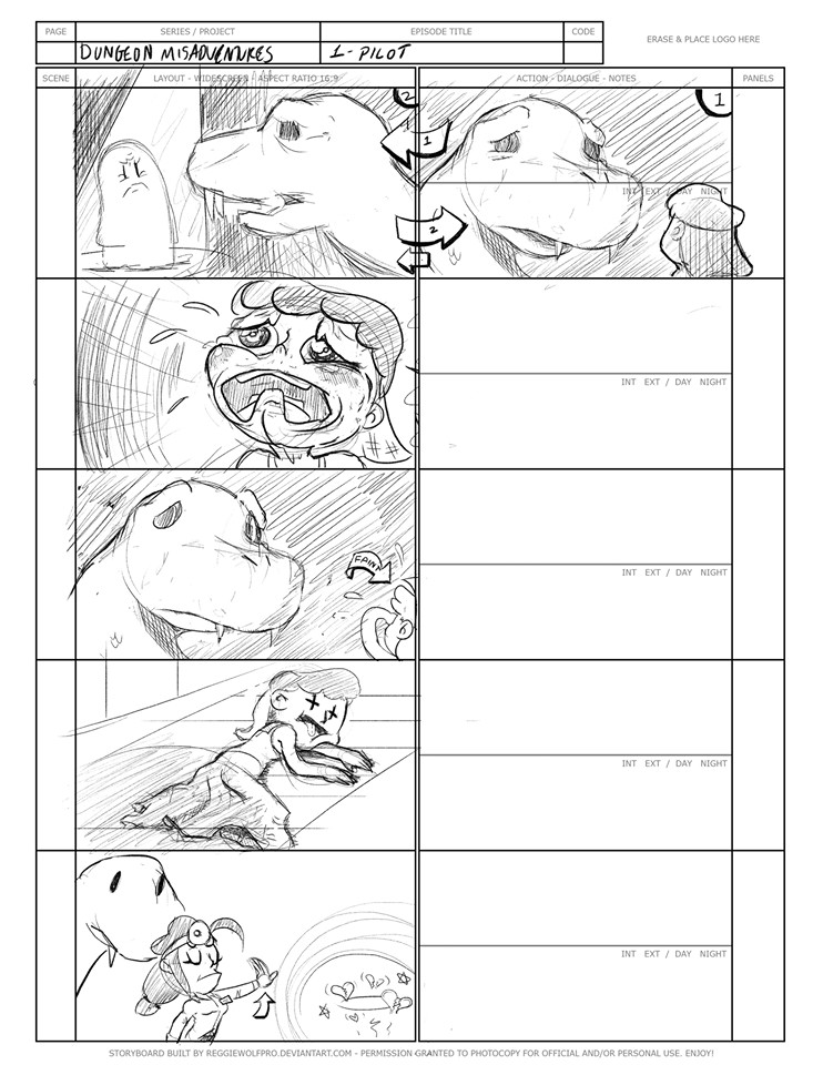 """(3) A selection from the """"Dungeon Misadventures"""" storyboards."""