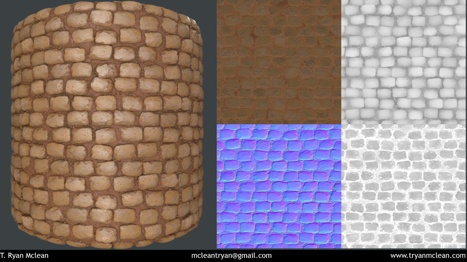 Cobblestone Material created in Substance Designer and rendered in Marmoset Toolbag. Texture flats, albedo, height, normal and roughness.
