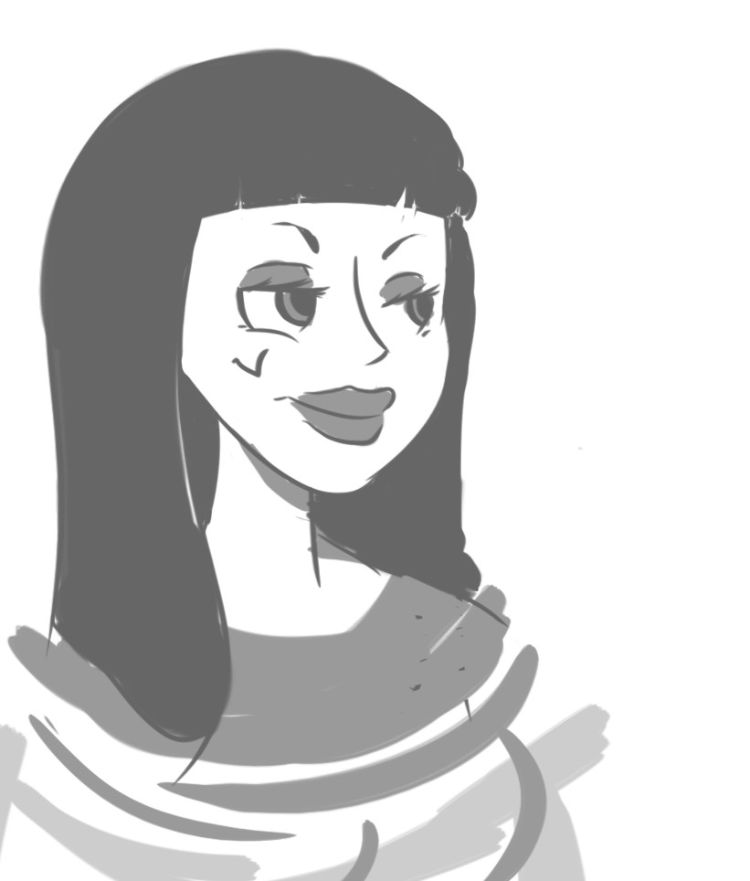 Concept art for a woman character. Designed for a video game.