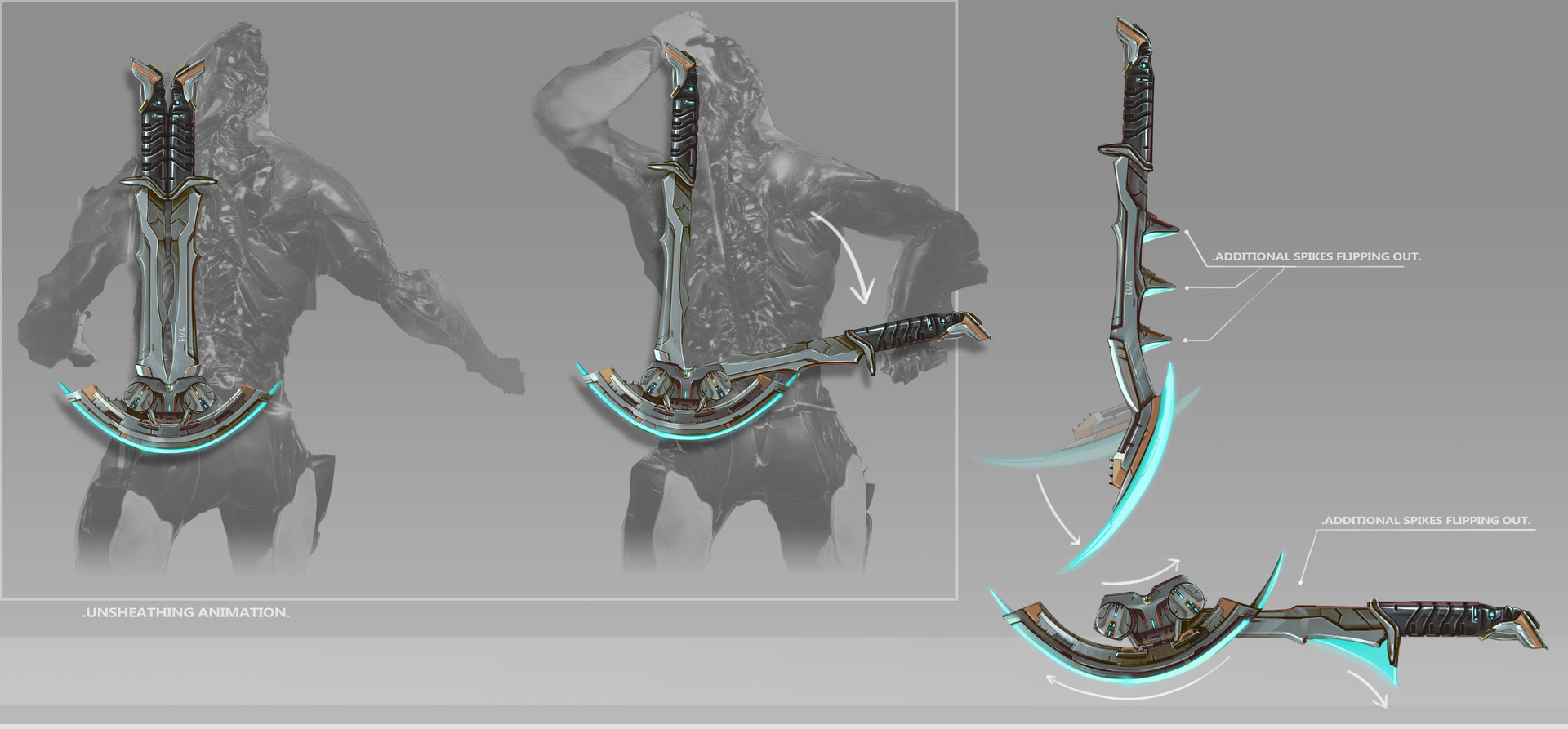 The sheathing-unsheathing animation; the swords would piece togheter once sheathed.