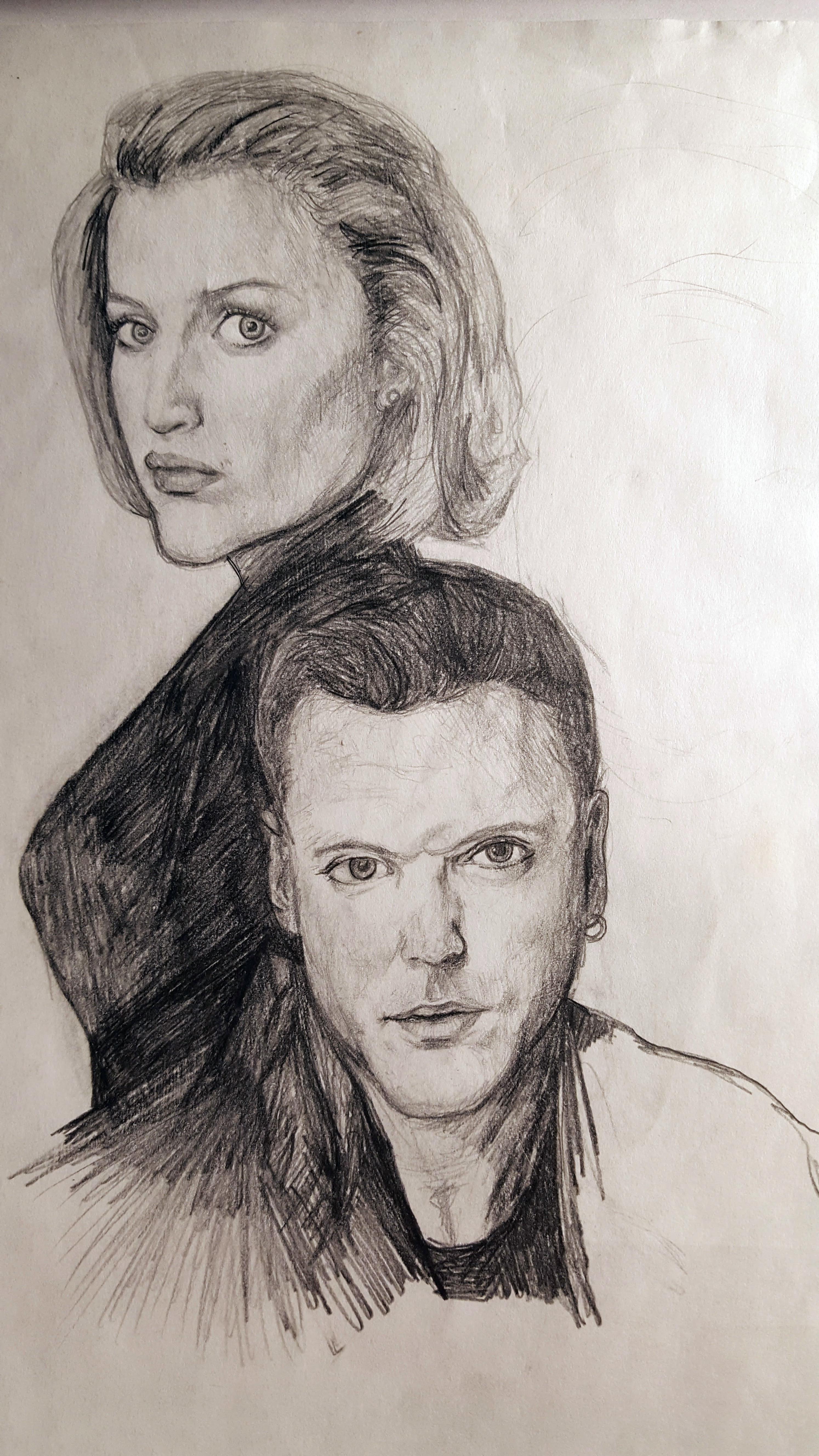 Scully, Krycek. Didn't finish Mulder and Skinner.