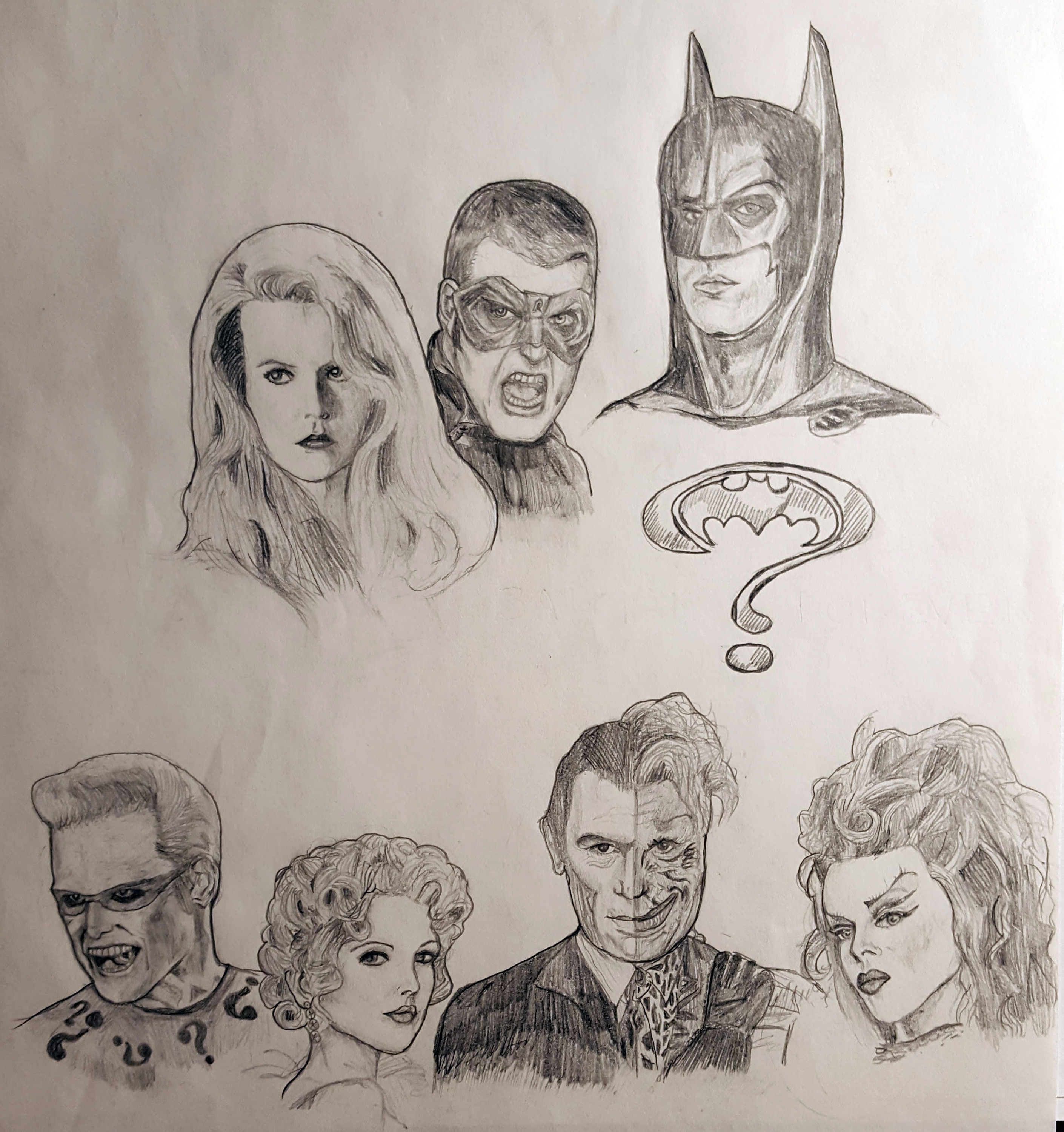 Batman Forever cast. To be fair, I drew this before I actually saw the movie.