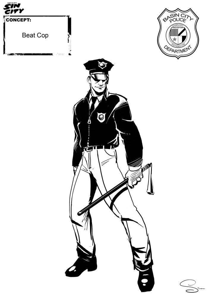 Simon lissaman sin city character concept cops beatcop