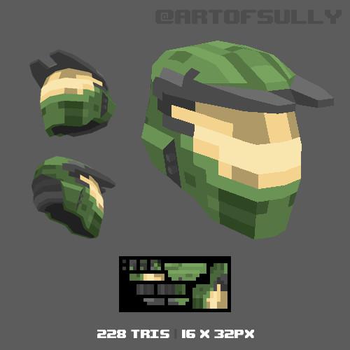 3D Pixel-Art Halo MK IV Helmet
